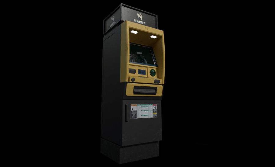 ATM Cash Machine Gameready royalty-free 3d model - Preview no. 3