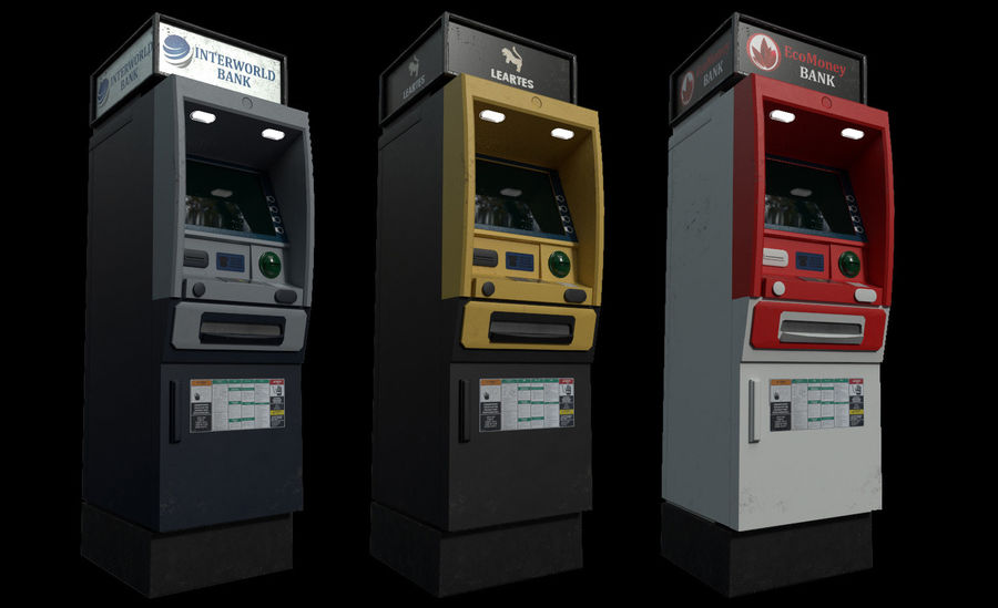 ATM Cash Machine Gameready royalty-free 3d model - Preview no. 5