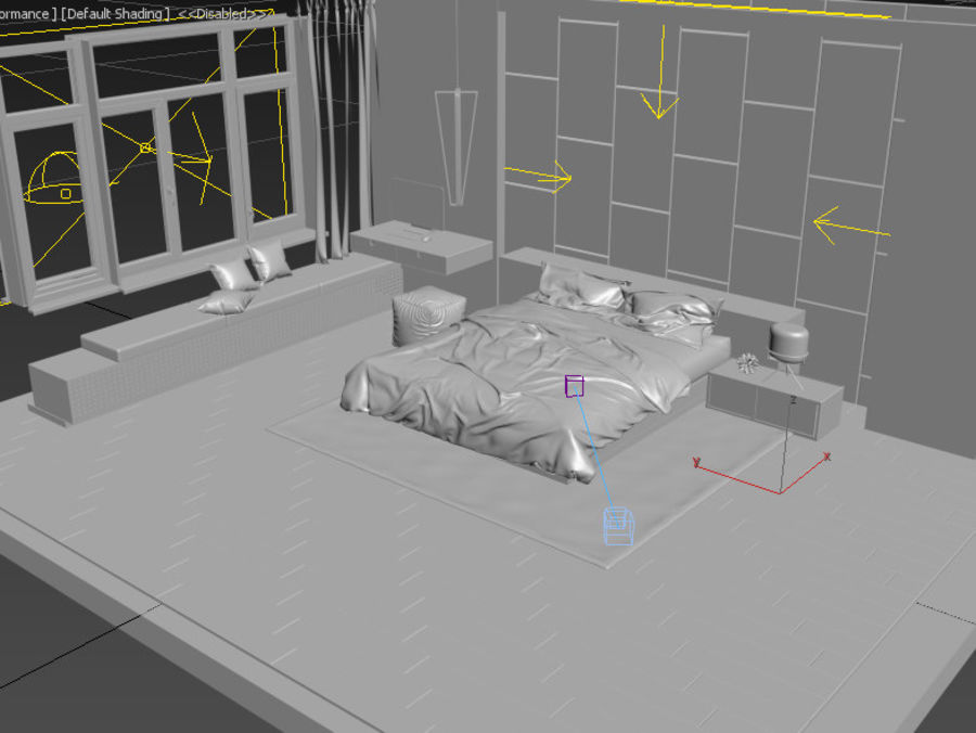 Modern Bedroom royalty-free 3d model - Preview no. 5