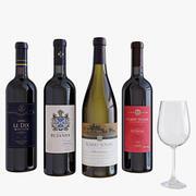 Botella de vino set 4 modelo 3d