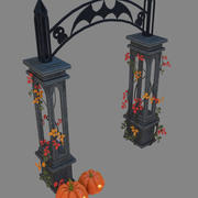 entrance to the cemetery scary halloween arch Low-poly 3D model 3d model