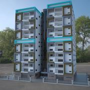 7 piętrowy budynek 3d model