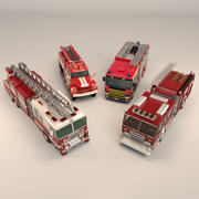 Low Poly Fire Truck Pack 3d model