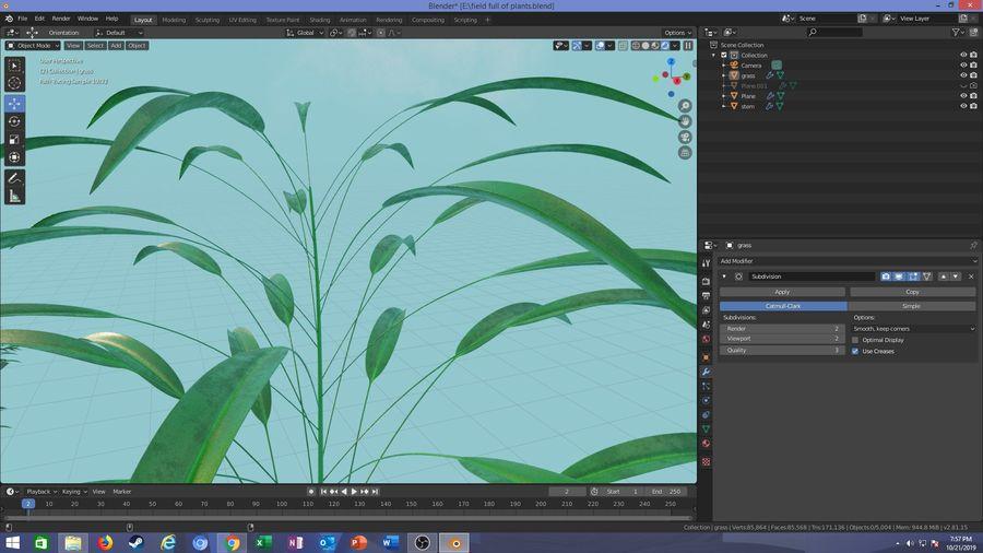 campo de hierba royalty-free modelo 3d - Preview no. 19