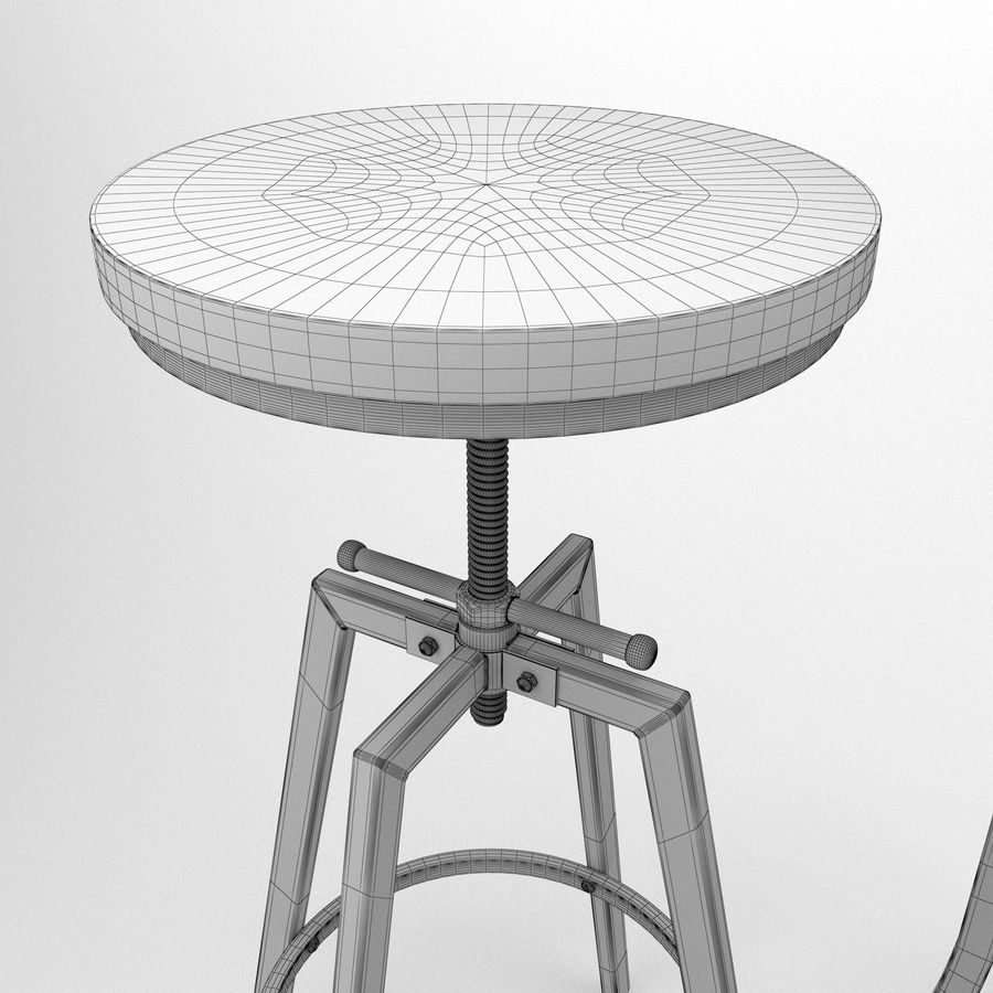 Barkruk + tafel royalty-free 3d model - Preview no. 7
