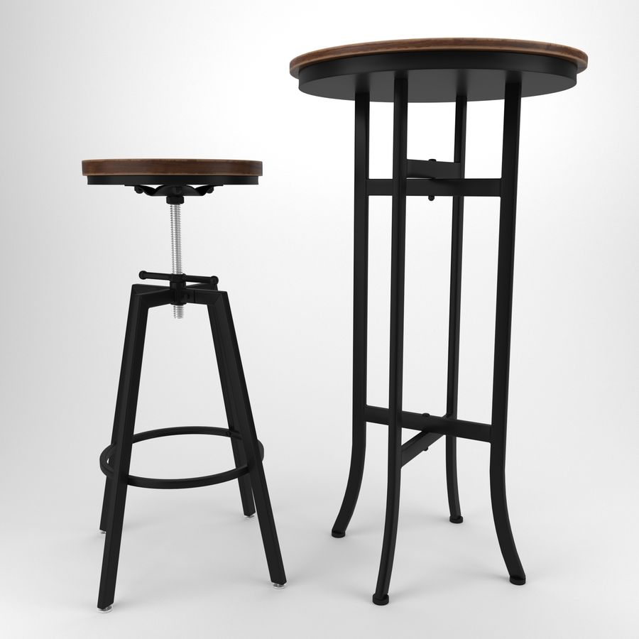 Barkruk + tafel royalty-free 3d model - Preview no. 1