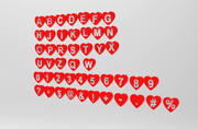 Letters love shape 3d model