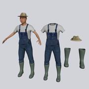 Old Asian Farmer 3d model