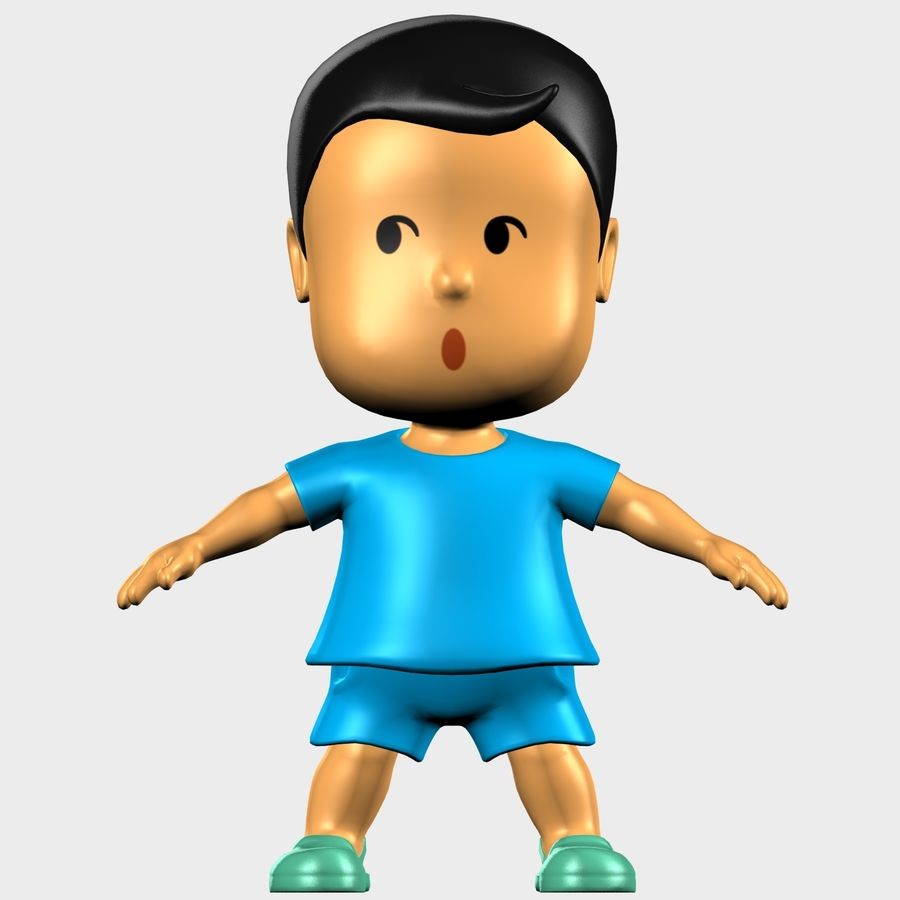 Boy Character Cartoon royalty-free 3d model - Preview no. 7