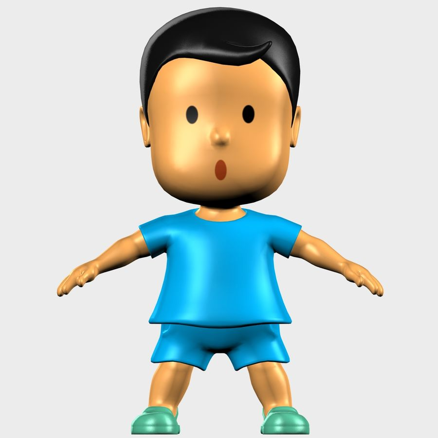 Boy Character Cartoon royalty-free 3d model - Preview no. 6