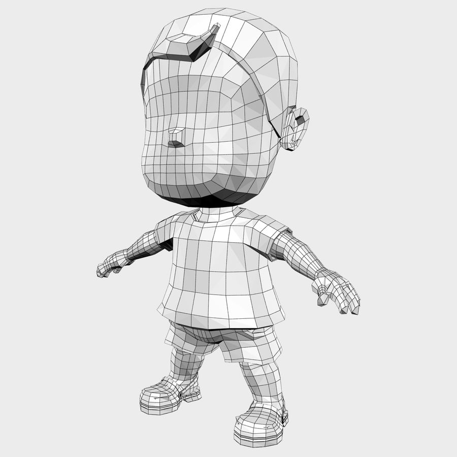 소년 캐릭터 만화 royalty-free 3d model - Preview no. 25