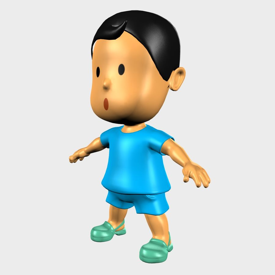 Boy Character Cartoon royalty-free 3d model - Preview no. 3