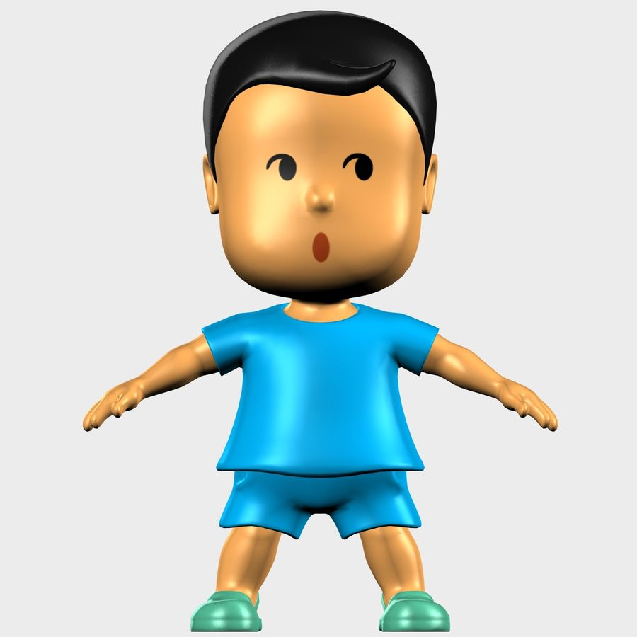 Boy Character Cartoon royalty-free 3d model - Preview no. 8