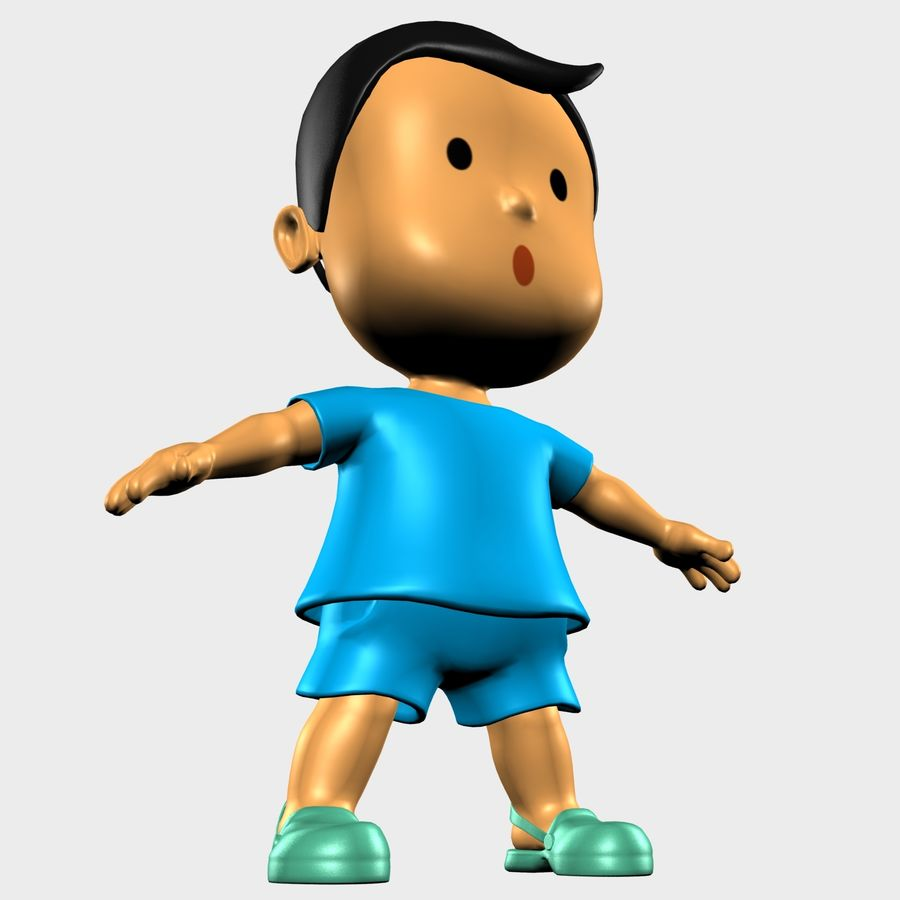 Boy Character Cartoon royalty-free 3d model - Preview no. 4