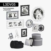 L3DV05G05 - ramki do zdjęć w stylu vintage i plakaty z 3 poziomami wielokątów 3d model