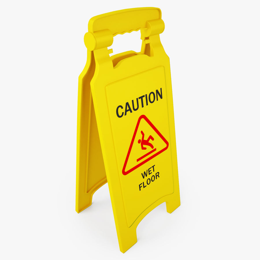 Cuidado piso molhado sinal de segurança modelo 3D royalty-free 3d model - Preview no. 4