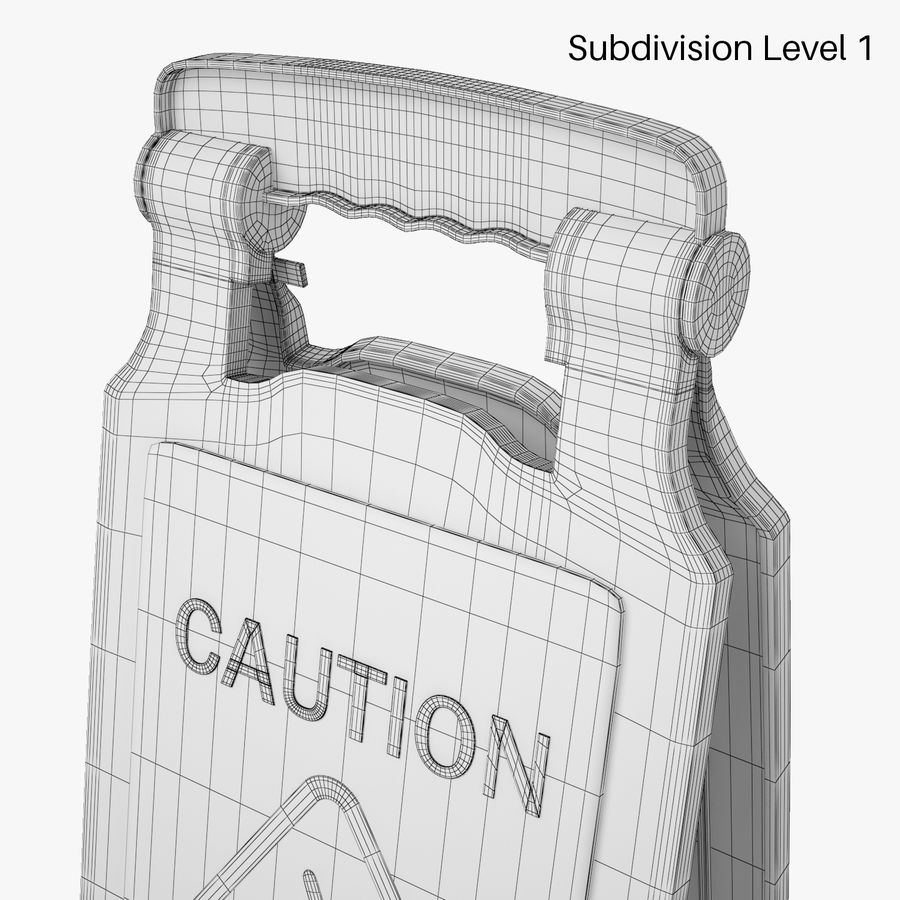 Cuidado piso molhado sinal de segurança modelo 3D royalty-free 3d model - Preview no. 7