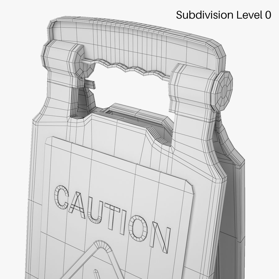 Cuidado piso molhado sinal de segurança modelo 3D royalty-free 3d model - Preview no. 6