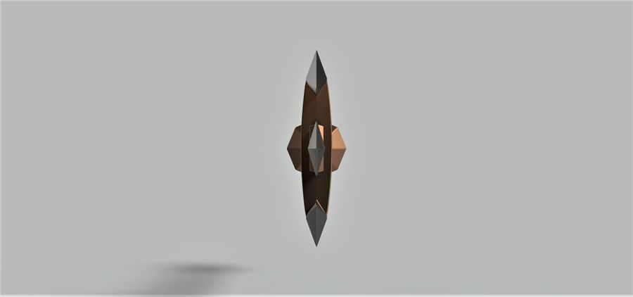Three-bladed dagger royalty-free 3d model - Preview no. 5