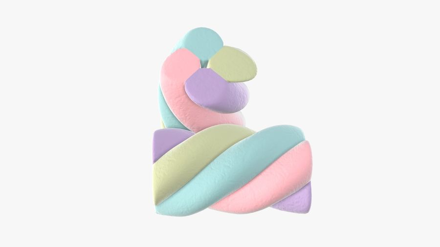 Marshmallows candy cylindrical twisted royalty-free 3d model - Preview no. 3
