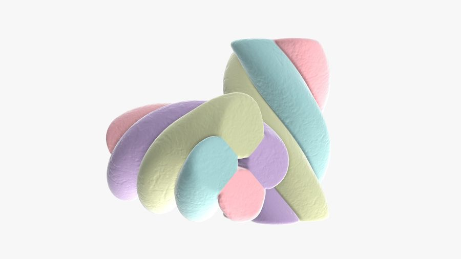 Marshmallows candy cylindrical twisted royalty-free 3d model - Preview no. 5