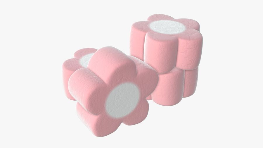 Marshmallows candy flower shape royalty-free 3d model - Preview no. 2