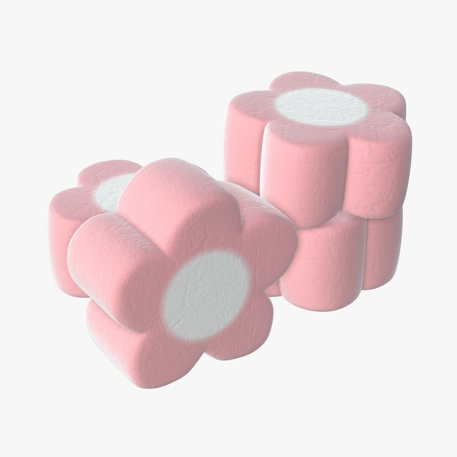 Marshmallows candy flower shape royalty-free 3d model - Preview no. 1