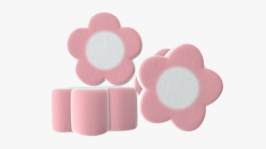 Marshmallows candy flower shape royalty-free 3d model - Preview no. 5