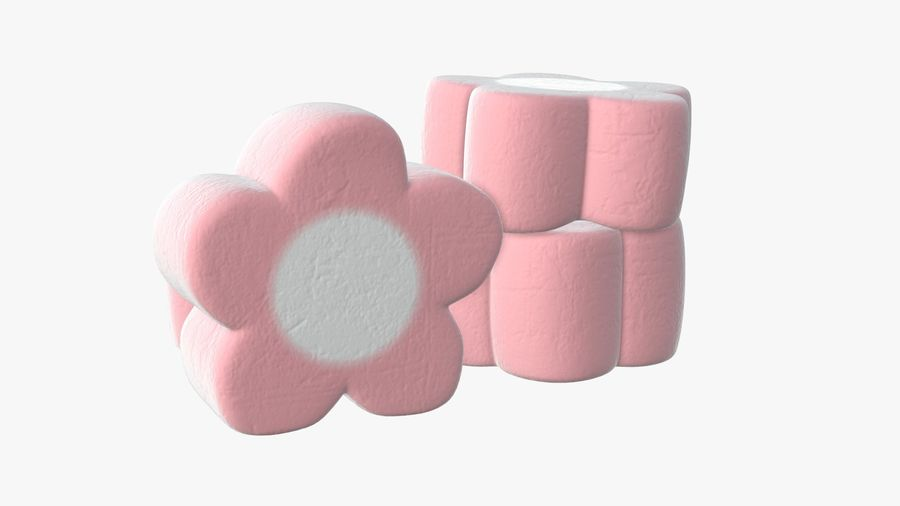 Marshmallows candy flower shape royalty-free 3d model - Preview no. 3