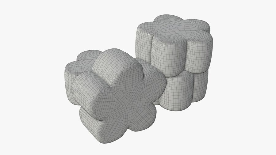 Marshmallows candy flower shape royalty-free 3d model - Preview no. 6