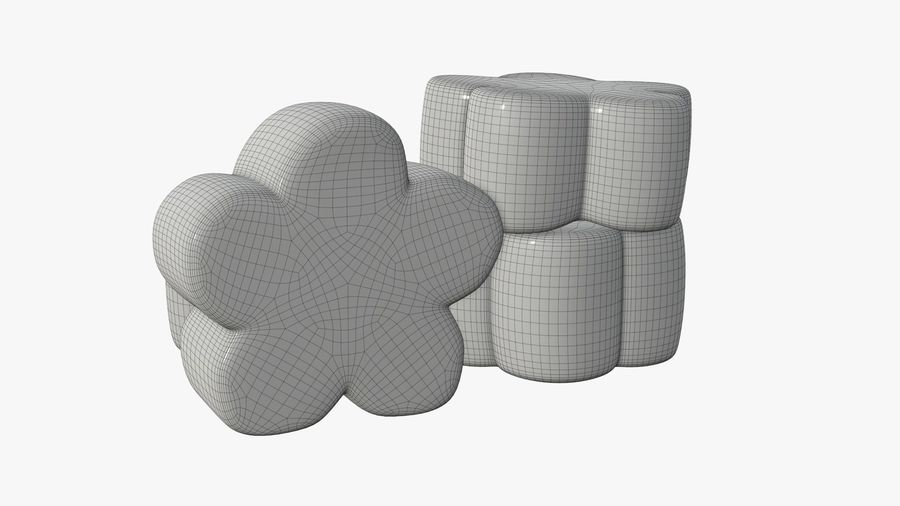 Marshmallows candy flower shape royalty-free 3d model - Preview no. 7