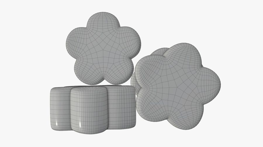 Marshmallows candy flower shape royalty-free 3d model - Preview no. 9
