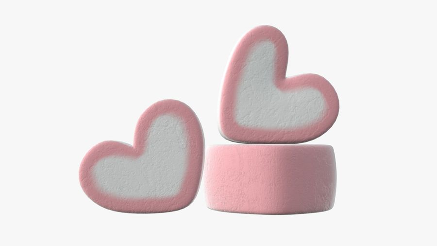 Marshmallows candy heart shape royalty-free 3d model - Preview no. 3