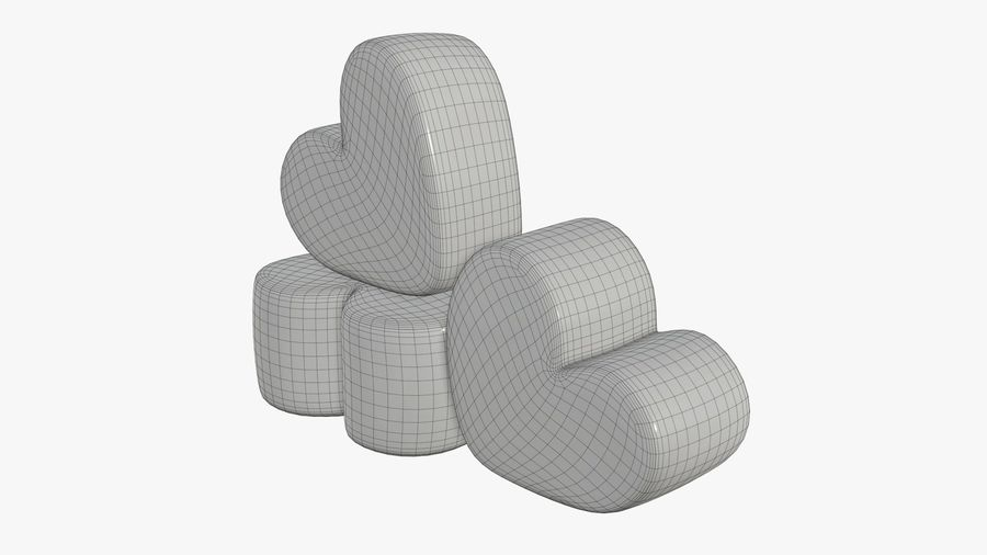 Marshmallows candy heart shape royalty-free 3d model - Preview no. 8