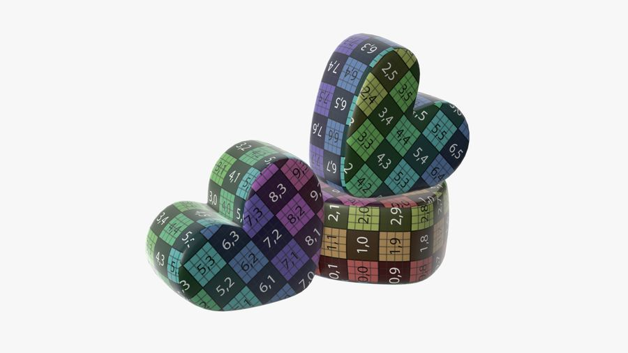Marshmallows candy heart shape royalty-free 3d model - Preview no. 10