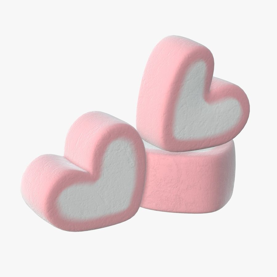 Marshmallows candy heart shape royalty-free 3d model - Preview no. 1