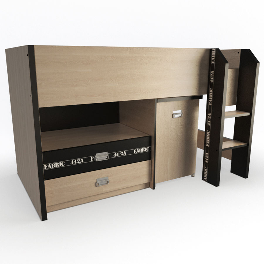 Спальня Подростковая Набор 01 royalty-free 3d model - Preview no. 6