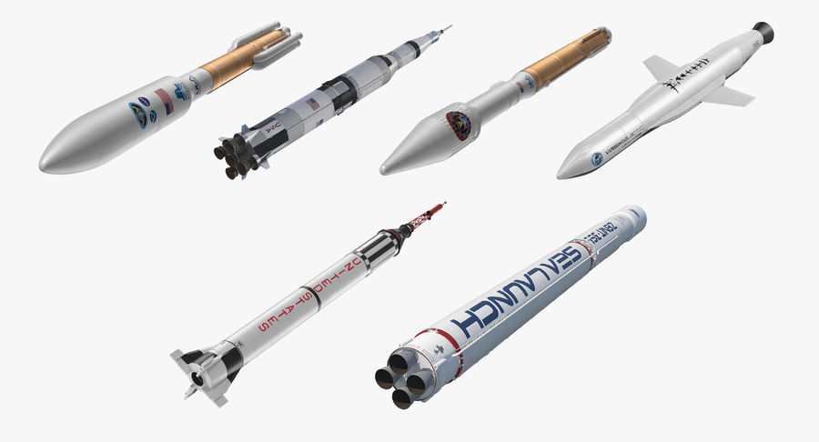 Space Rockets Collection royalty-free 3d model - Preview no. 2