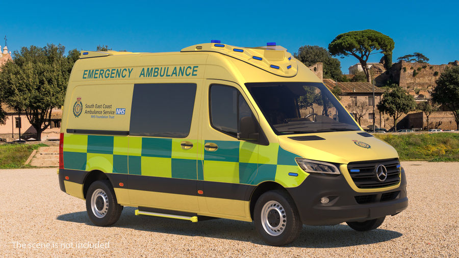 Mercedes Benz Sprinter Emergency Ambulance royalty-free 3d model - Preview no. 2