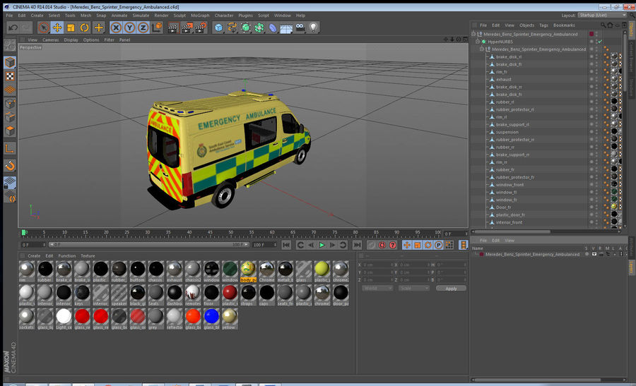Mercedes Benz Sprinter Emergency Ambulance royalty-free 3d model - Preview no. 27