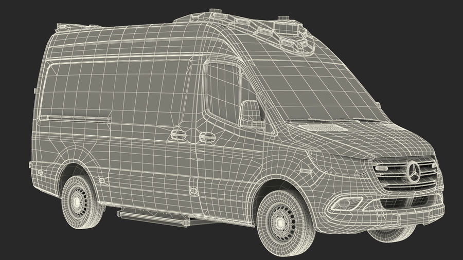 Mercedes Benz Sprinter Emergency Ambulance royalty-free 3d model - Preview no. 30