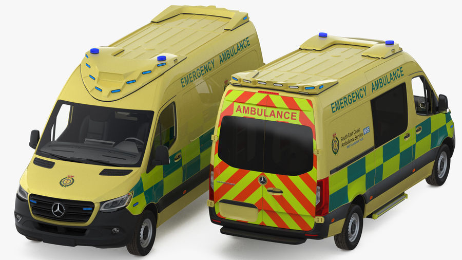 Mercedes Benz Sprinter Emergency Ambulance royalty-free 3d model - Preview no. 8