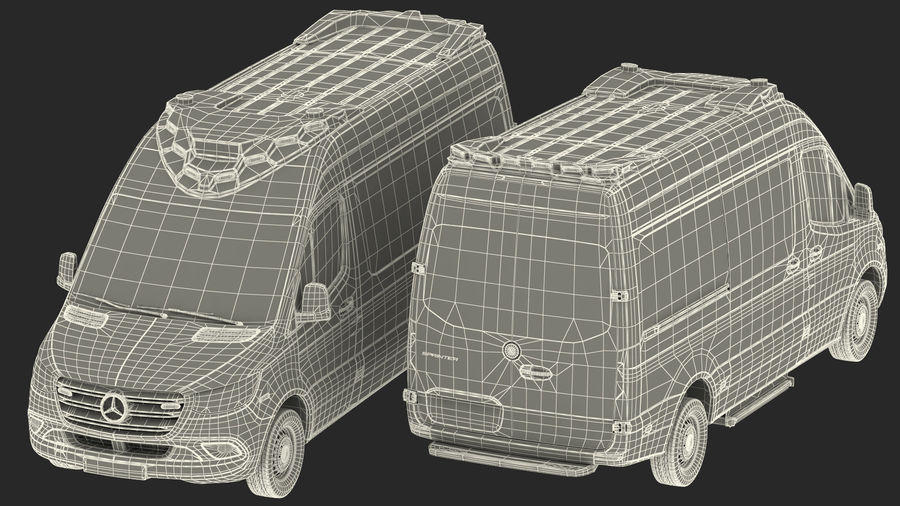 Mercedes Benz Sprinter Emergency Ambulance royalty-free 3d model - Preview no. 29