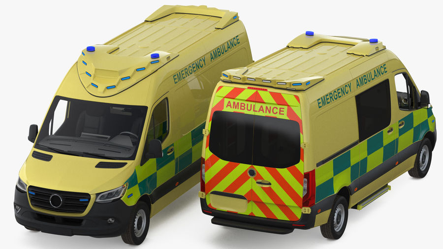 Emergency Ambulance Rigged royalty-free 3d model - Preview no. 7