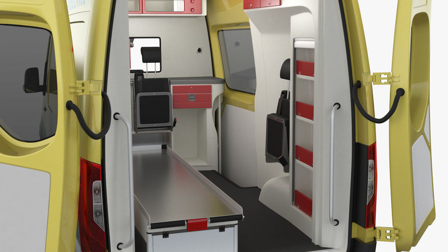 Emergency Ambulance Rigged royalty-free 3d model - Preview no. 16