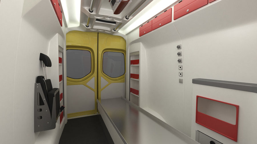 Emergency Ambulance Rigged royalty-free 3d model - Preview no. 18