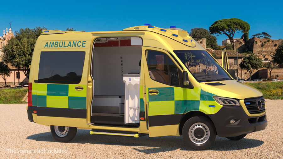 Emergency Ambulance Rigged royalty-free 3d model - Preview no. 2