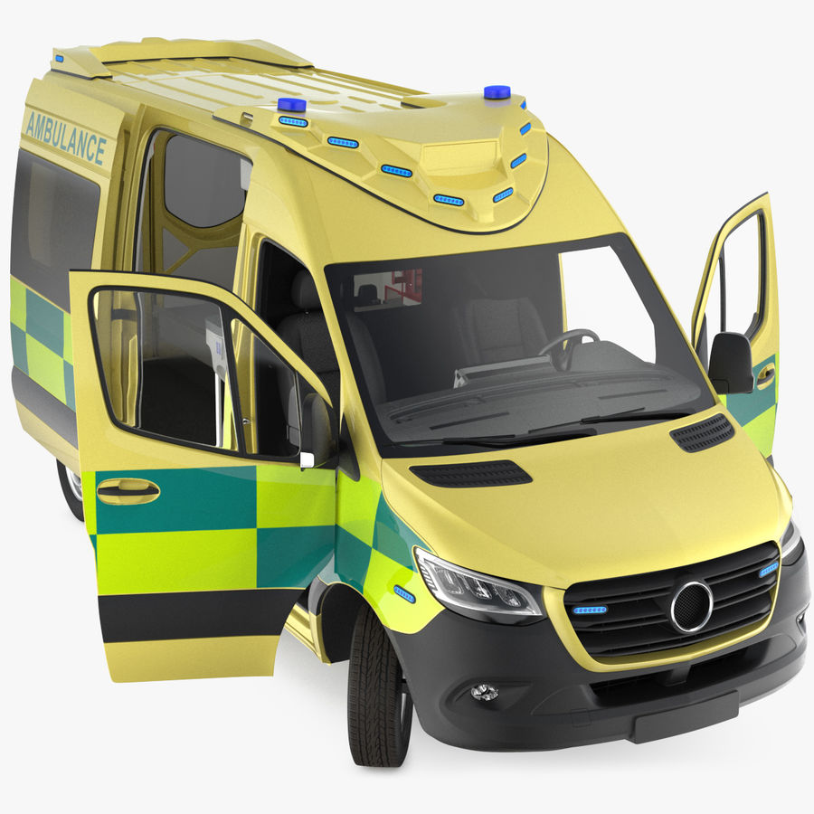 Emergency Ambulance Rigged royalty-free 3d model - Preview no. 1