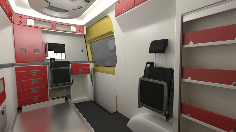 Emergency Ambulance Rigged royalty-free 3d model - Preview no. 17