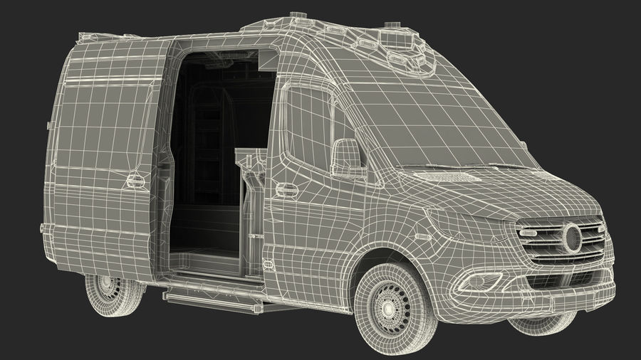 Emergency Ambulance Rigged royalty-free 3d model - Preview no. 30